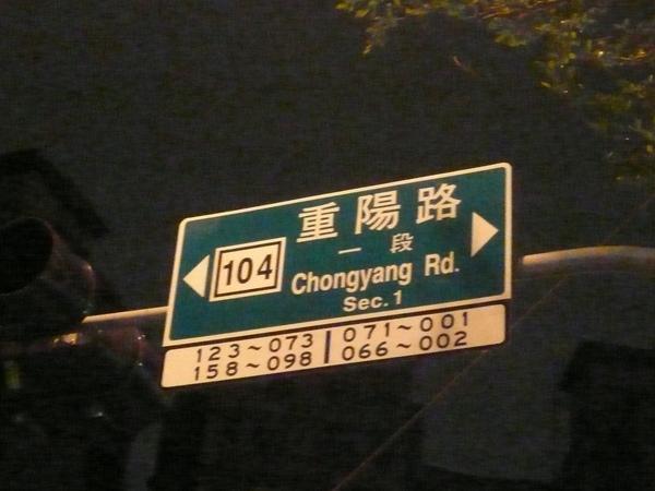 重陽路一段路牌 台北縣全新格式