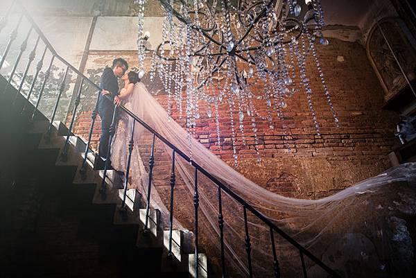 @新人的最愛@高雄自助婚紗%26;復古蕾絲長頭紗