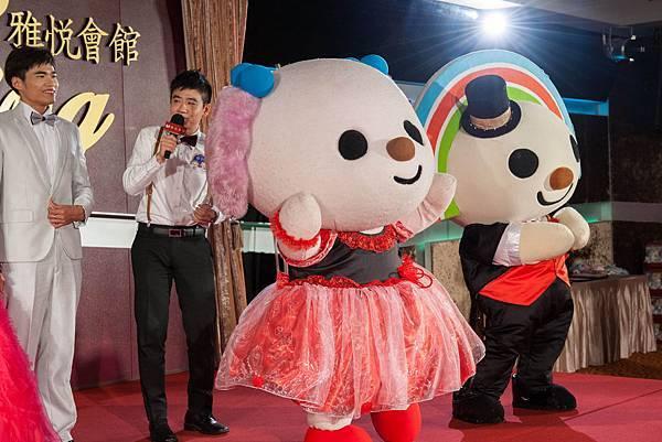 主持人:「全台灣唯一一家有OPEN小將婚禮的宴會場所是雅悅會館?」  答案是「對」,雅悅會館的OPEN小將婚禮是統一獨家授權