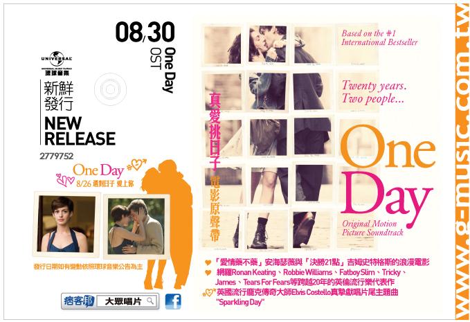 藝人/樂團: OST 電影原聲帶 專輯名稱:One Day 真愛挑日子 (*安海瑟薇主演,台灣8/26上映*)