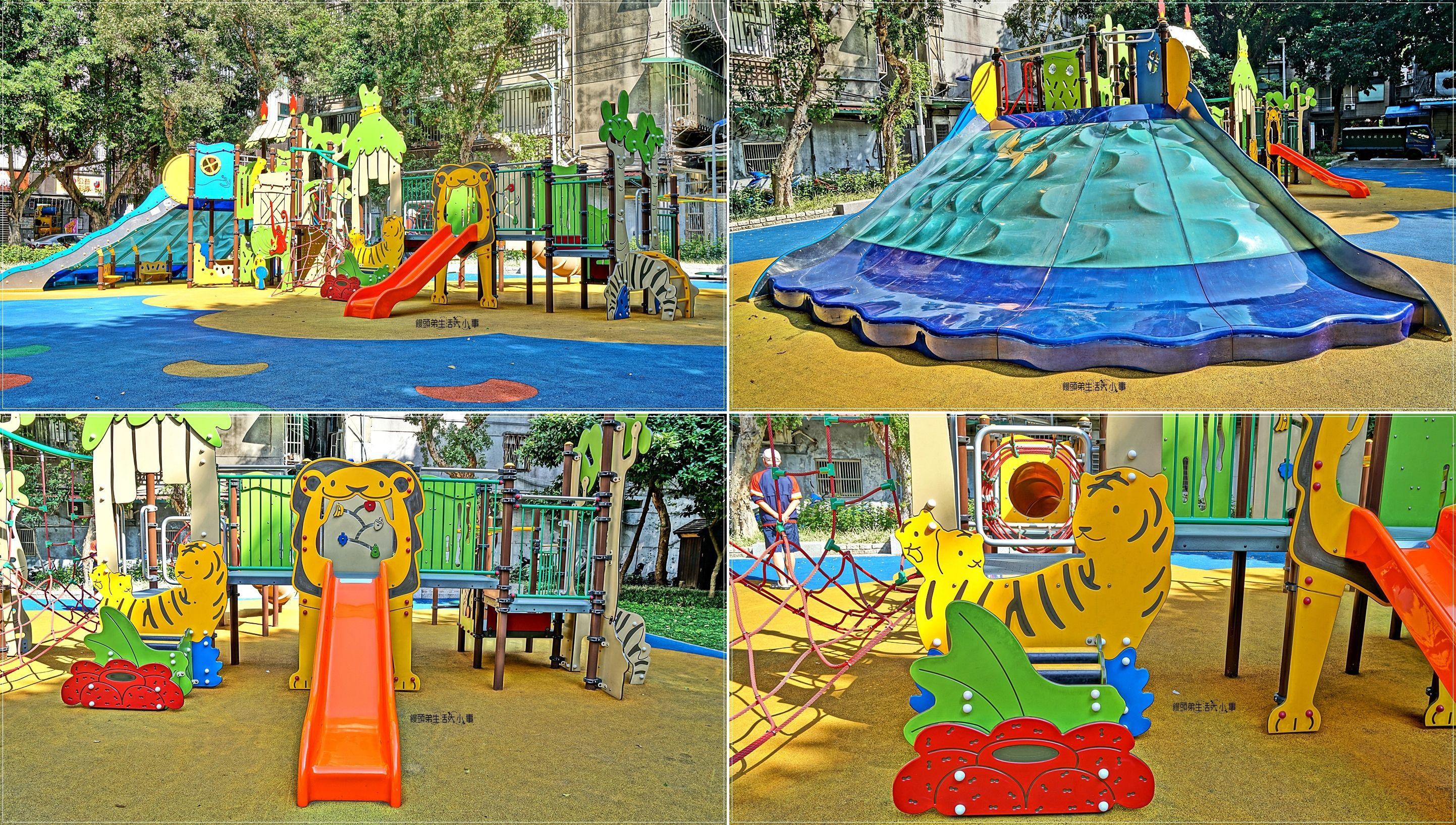【台北景點】晴光公園/中山國小捷運站~童玩趣味公園,寬面波浪溜滑梯、攀爬網、水管溜滑梯、單槓,迷你設計適合小孩玩耍