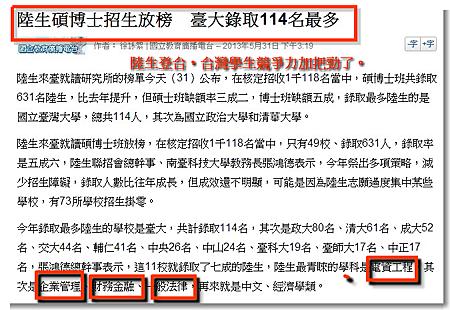 陸生碩博士招生放榜 臺大錄取114名最多
