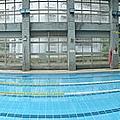 白天的泳池全景