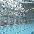 而是溫水泳池水溫比起外頭氣溫高出很多,所以產生濃濃蒸氣