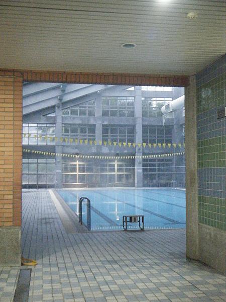 透過明亮的更衣室往外看去,泳池真的瀰漫著一片霧氣
