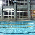 夜晚的泳池全景