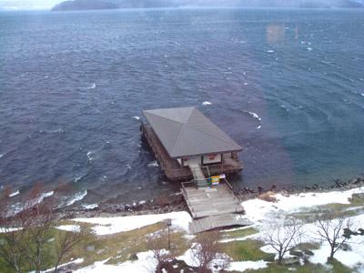 住在洞爺湖的房屋,戶外就是湖哦~超美的~