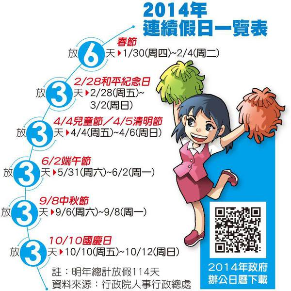 2014年的行事曆