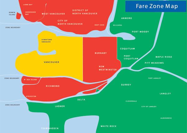 溫哥華大眾交通工具分區地圖