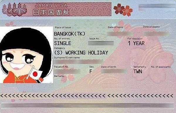 日本打工度假簽證樣本