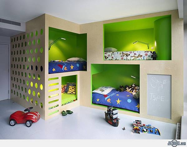 futuristic-kids-bedroom-design-ideas-with-awesome-modern-bunk-beds-bedroom-kids-room-furniture-bedroom-futuristic-kids-bedroom-design-ideas-with-awesome-modern-bunk-beds-for-4-and-green-wall-paint-acc