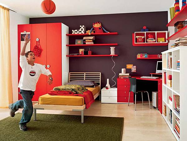 Modern-child-room-interior-with-red-desk