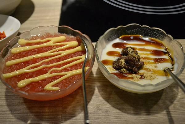葡萄柚果凍與黑糖豆奶酪