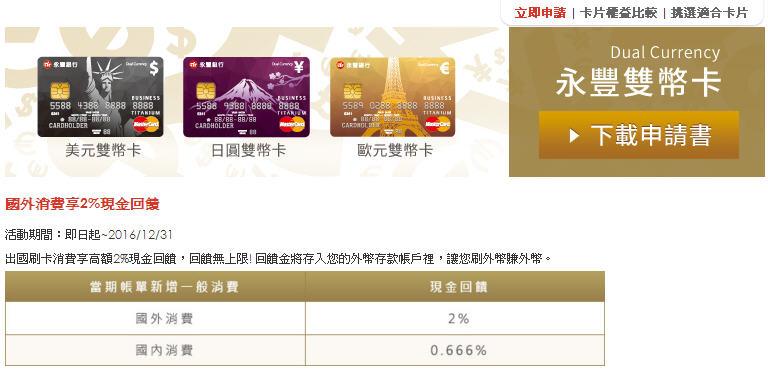 永豐銀行》雙幣信用卡