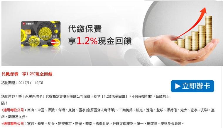 保倍卡繳保費現金回饋1.2%