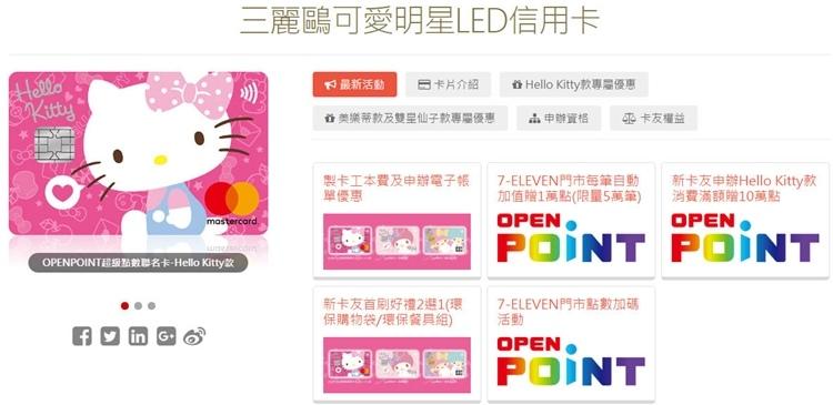 華南三麗鷗可愛明星LED信用卡