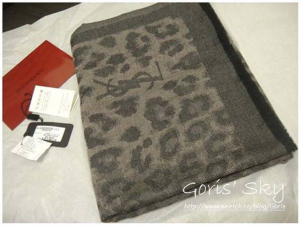 2012 YSL 男版豹紋圍巾