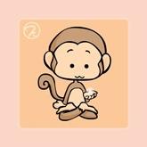 Q版12生肖禪定圖-猴子