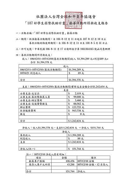 「107好學生弱勢扶助計畫」勸募活動所得與收支報告.jpg