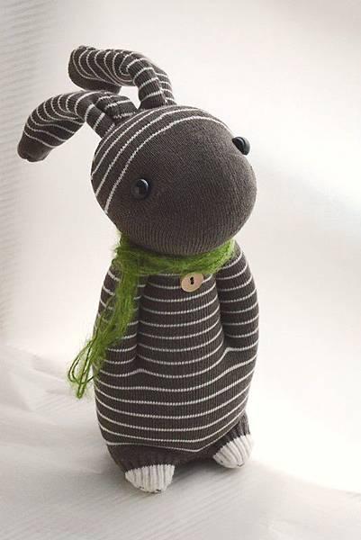 襪子娃娃156號咖啡條紋兔 (6)