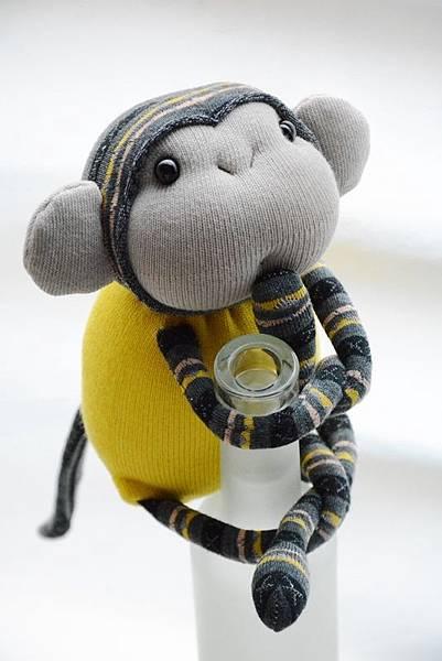 襪子娃娃165號亮黃灰紋小猴 (2)