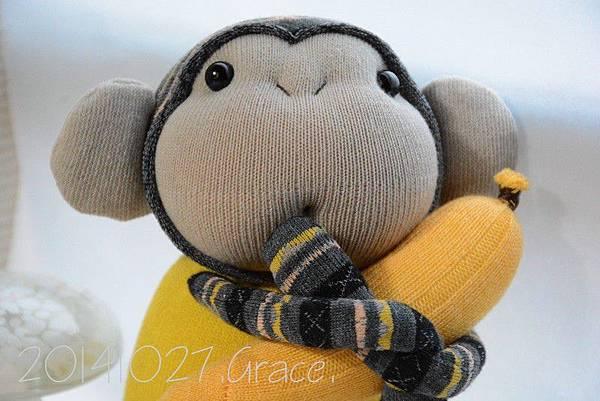 襪子娃娃165號亮黃灰紋小猴 (5)1