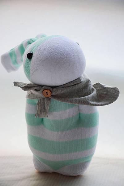 襪子娃娃167號寬版湖水綠條紋兔 (2)