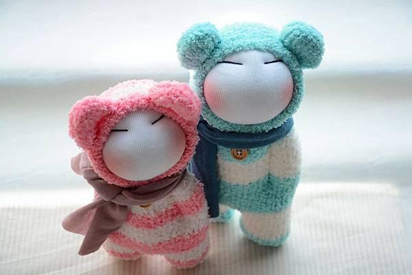 襪子娃娃179號藍白拖+180號紅白拖 (1)