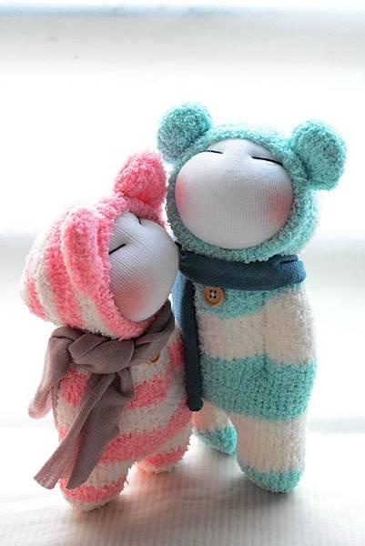 襪子娃娃179號藍白拖+180號紅白拖 (2)