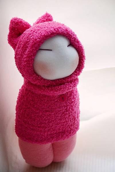 襪子娃娃187號桃紅小咪 (1)