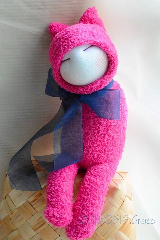 襪子娃娃189號藍蝴蝶桃紅小咪 (1)