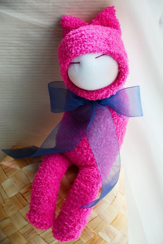 襪子娃娃189號藍蝴蝶桃紅小咪 (2)