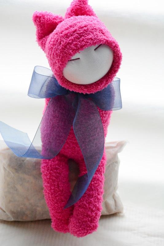 襪子娃娃189號藍蝴蝶桃紅小咪 (4)