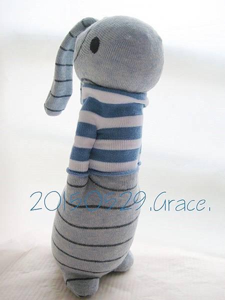 襪子娃娃190號發泡粒條紋兔 (1)