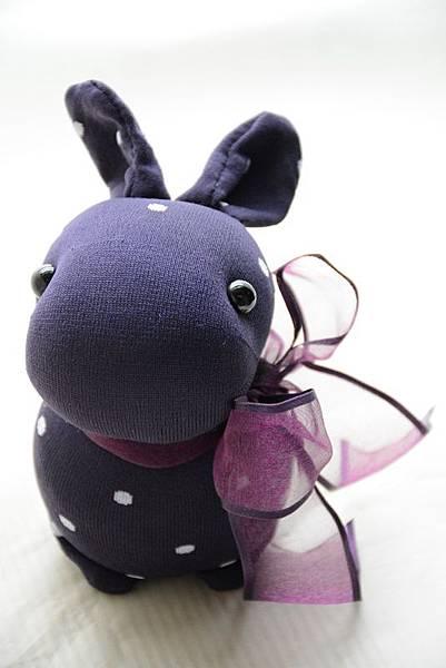 襪子娃娃200號紫糯米兔 (1)