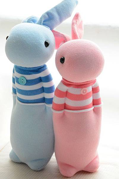 襪子娃娃210+211號條紋T情侶兔 (2)