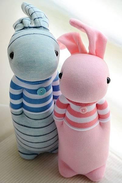襪子娃娃209+214號條紋T粉紅兔