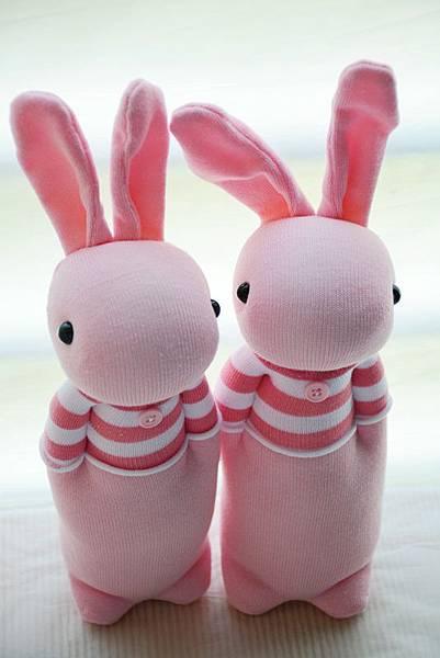 襪子娃娃211+214號條紋T粉紅兔 (1)