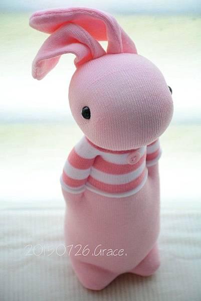 襪子娃娃214號條紋T粉紅兔 (3)