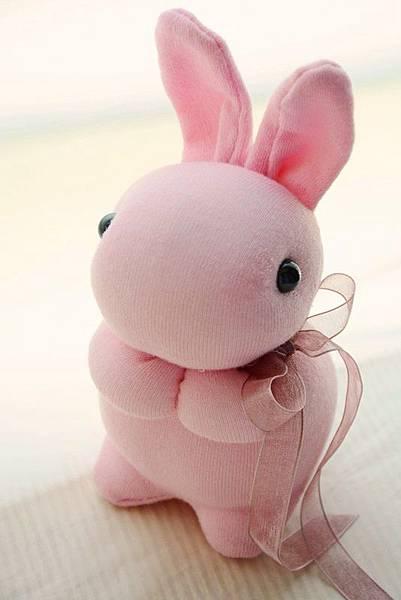 襪子娃娃215號粉紅小兔 (2)