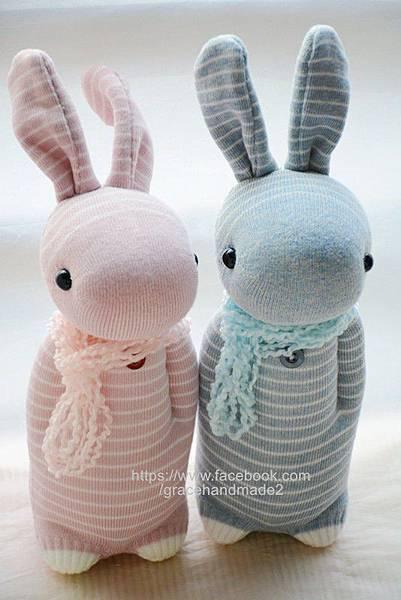 襪子娃娃245+246號條紋兔