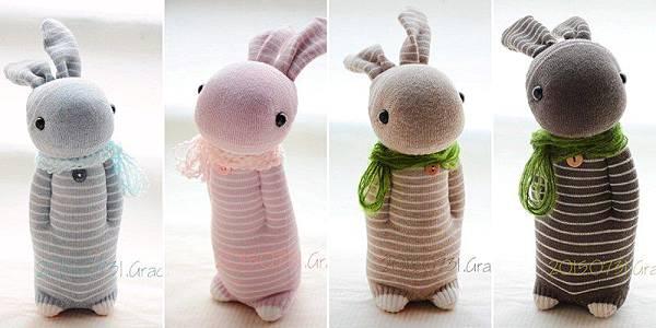 襪子娃娃4隻條紋兔