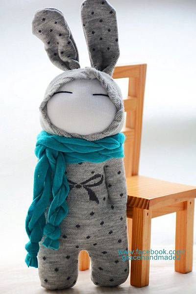 襪子娃娃263號藍灰兔 (1)