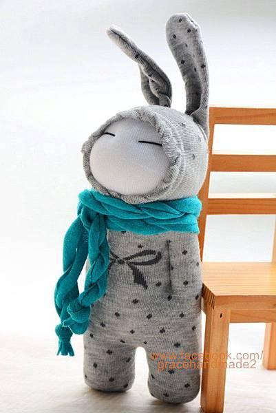 襪子娃娃263號藍灰兔 (3)