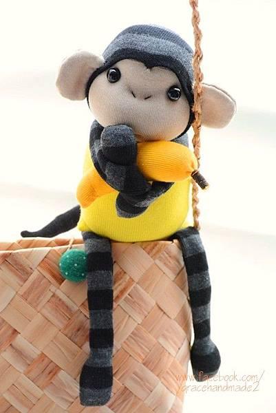 襪子娃娃264號檸檬黃小猴 (1)