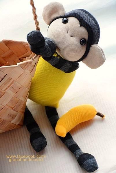 襪子娃娃264號檸檬黃小猴 (2)