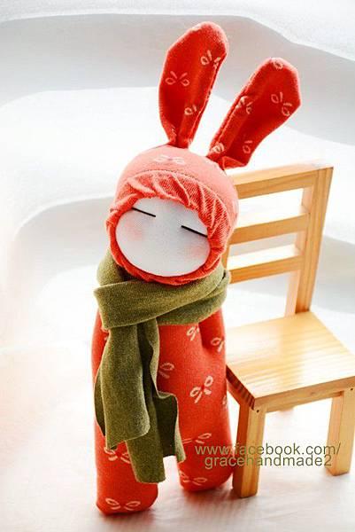 襪子娃娃265號小橘蝶兔裝娃娃 (1)1