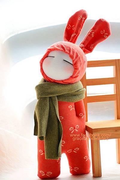 襪子娃娃265號小橘蝶兔裝娃娃 (3)1