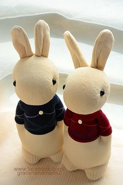 襪子娃娃267+268號菱格T情侶兔 (1)1