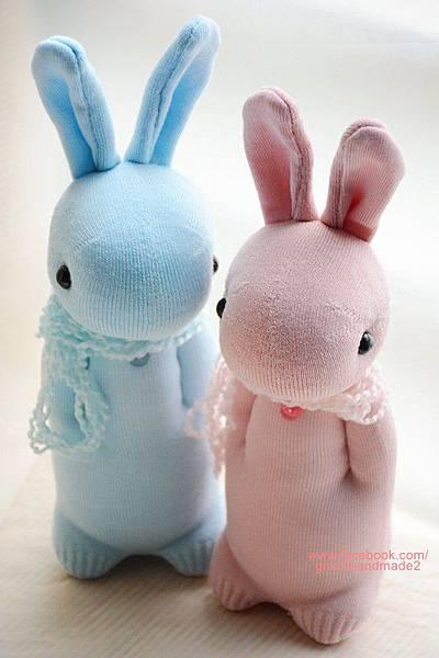 襪子娃娃280+281號粉嫩情侶兔 (2)
